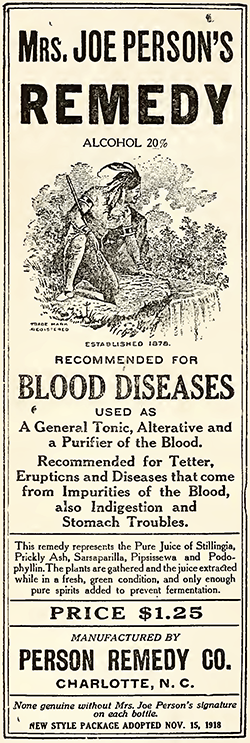 Advertisement for Mrs. Joe Person's Remedy, 1920. Image from the North Carolina Digital Collections.