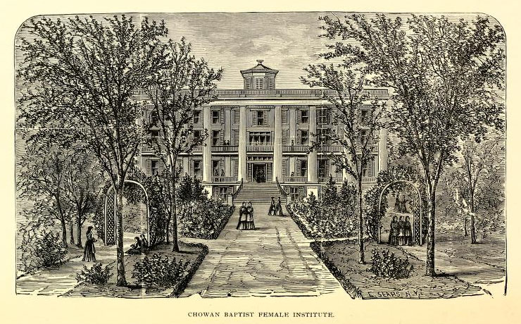 Engraved image of Chowan Baptist Female Institute, circa 1899, from the <i>Catalogue of Chowan Baptist Female Institute, Murfreesboro, N.C.</i>, Fifty-First Sesssion, 1898-99.  Published by the Presses of Edward & Broughton, Raleigh, N.C. Presented on Archive.org.  William Petty was elected president of Chowan Baptist Female Institute in 1896.