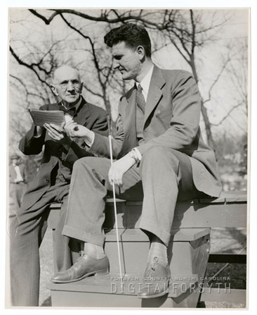 Photograph of B. J. Pfohl and Austin Burke at practice for the Easter Sunrise Service, March 1947.  From the collections of Forsyth County Public Library, Digital Forsyth, Winston-Salem, North Carolina.  Used by permission from the Forsyth County Public Library.