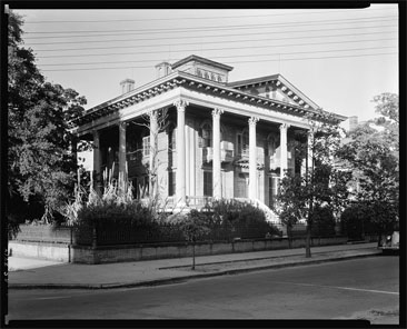 Photograph of the Bellamy Mansion, Wilmington, North Carolina.  Image by Frances Benjamin Johnston, between 1935-1938.  From the Carnegie Survey of the Architecture of the South, Library of Congress Prints & Photographs Online Catalog.  The Bellamy Mansion was designed by James Francis Post.