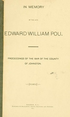 Title page of Proceedings of the Bar of The County of Johnston in Memory of Edward William Pou. Image from the Internet Archive.