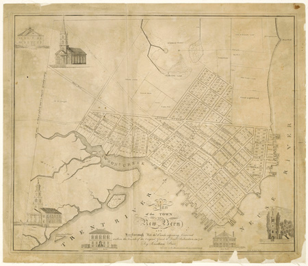 "Jonathan Price and Allen Fitch's ""Plan of the Town of New Bern,"" published circa 1820s.  From the North Carolina Collection, University of North Carolina at Chapel Hill.  Presented on North Carolina Maps."