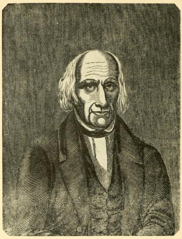 Engraved portrait of David Purveyance, from <i>Biography of Elder David Purviance</i> by Elder Levi Purviance, published 1848 by B.F. & O.W. Ells, Dayton, Ohio.  Presented on Archive.org.