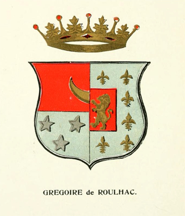 Coat of Arms of the Gregoire de Roulhac Family. From Helen M. Prescott's <i>Genealogical Memoir of the Roulhac Family in America</i>, published 1894 by the American Publishing & Engraving Co., Atlanta, Georgia.  Presented on Archive.org.