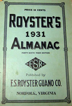 Cover of an almanac put out by the F.S. Royster Guano Co., 1931. Image from the North Carolina Museum of History.