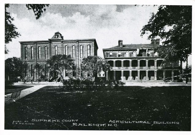 Photograph of the old N.C. State Supreme Court building, built 1812, original photograph circa 1900. From the N.C. Museum of History.