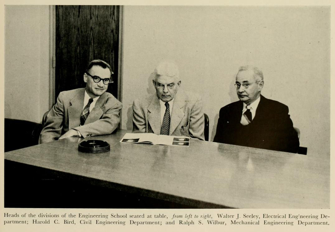Image of Walter James Seeley (left), with Harold C. Bird (middle) and Ralph S. Wilbur (right), from Duke University's The Chanticleer yearbook 1953, [p.21], published 1953 by Duke University. Presented on Digital NC.
