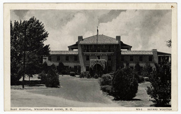 "Postcard image of ""Baby Hospital, Wrightsville Sound, N.C.,"" circa 1915-1930, from the Durwood Barbour Collection of North Carolina Postcards, North Carolina Collection, Wilson Library, University of North Carolina at Chapel Hill.  James Sidbury established the Babies Hospital at Wrightsville."