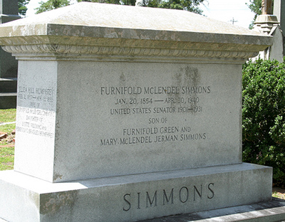 The gravestone of Furnifold McLendel Simmons in New Bern, 2009. Image from Flickr user rjones0856.