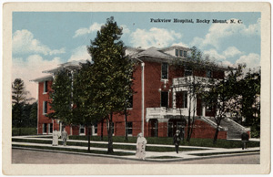 Postcard image of the Parkview Hosptial in Rocky Mount, NC.  From the Durwood Barbour Collection of North Carolina Postcards, North Carolina Photographic Archives, Wilson Library, University of North Carolina, Chapel Hill.  Claiborne Thweatt Smith joined the staff of Parkview Hospital in 1919.
