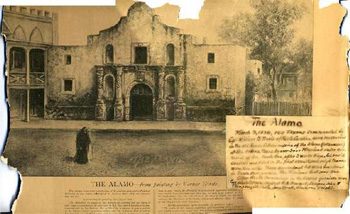 Photograph of an artistic depiction of the Alamo, image taken 1910-1930.  Image includes a printed description of North Carolina's role in the defense of the Alamo in 1836.  Item H.19XX.328.65 from the collections of the North Carolina Museum of History.