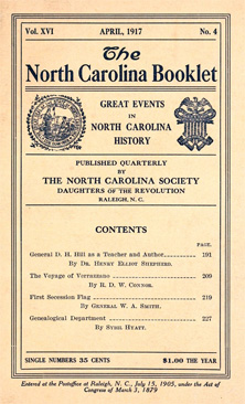 Image of cover of the <i>North Carolina Booklet 16(4),</i> 1917, showing article by W. A. Smith.  From Archive.org.