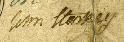 The signature of John Starkey from a 4 shilling bill of credit, 1754. Image from the North Carolina Collection Numismatic Collection, University of North Carolina at Chapel Hill