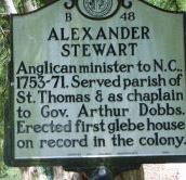 Alexander Stewart's mile marker on Craven Street in Bath, Beautfort County. Photo is presented on North Carolina Highway Historical Marker Program.