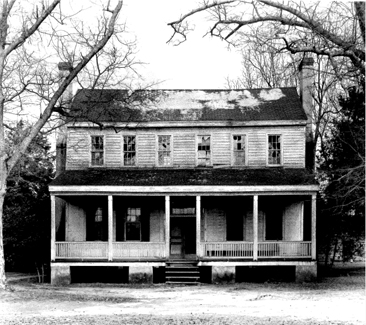 Photograph of the Stewart-Hawley-Malloy House in Stewartsville, near Laurinburg, North Carolina.  Image from the National Register of Historic Places Inventory-Nomination Form for the Stewart-Hawley-Malloy House, June 2, 1975.  The house was built for James Stewart circa 1800.