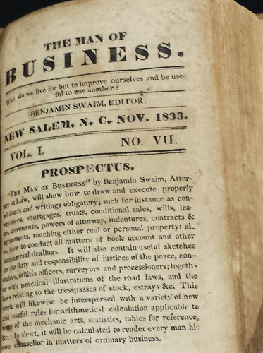 Image of title page of <i>The Man of Business,</i> Vol. I, No. VII, published by Benjamin Swain, November 1833 in New Salem.  From the collections of the State Library of North Carolina.