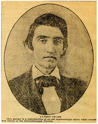 "Photograph of Lyndon Swaim, circa mid-1800s, reproduced in the <i>Greensboro Daily News,""</i> December 30, 1922.  From the State Library of North Carolina Vertical File."