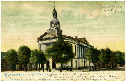 Historic postcard image of the Guilford County Courthouse, circa 1900, design attributed to Lyndon Swaim.  Image from North Carolina Postcards, Wilson Library, University of North Carolina at Chapel Hill.