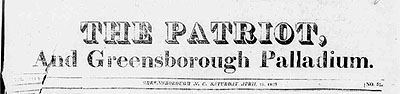 "Image of masthead from <i>The Patriot, and Greensboro Palladium,</i>"" April 18, 1929.  From Historic Greensboro Newspapers, UNCG Digital Collections."