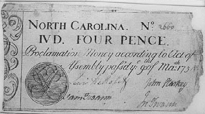 A North Carolina four pence bill, circa 1754-1756, signed by Samuel Swann. Image from the North Carolina Museum of History.