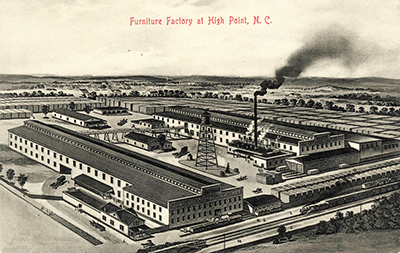A postcard circa 1905-1915 showing the Continental Furniture Company factory of Fred N. Tate in High Point. Image from the North Carolina Collection, University of North Carolina at Chapel Hill.