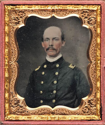 Ambrotype portrait of Colonel Charles C. Tew, 1.9cm by 8.4 cm, made 1861 by Whitehurst Galleries.  Item H.19XX.94.19 from the collections of the North Carolina Museum of History.