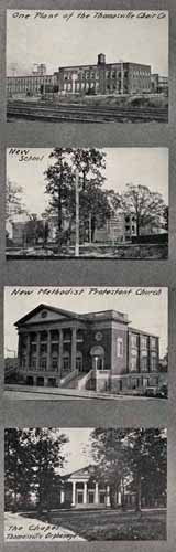 One Plant of the Thomasville Chair Co., New School, New Methodist Protestant Church, The Chapel Thomasville Orphanage. From Albert Y. Drummond Drummond's Pictorial Atlas of North Carolina. Charlotte: Albert Y. Drummond, Winston-Salem: Scoggin Printing Company, Inc., c1924. UNC-CH Libraries.