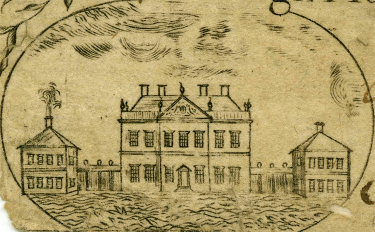 Detail of a 1775 North Carolina five dollar bill, showing Tryon Palace. Image from North Carolina Collection, University of North Carolina at Chapel Hill.