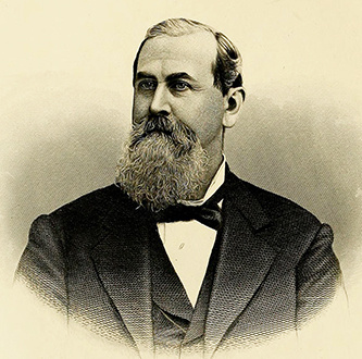 An 1880 engraving of Rufus Sylvester Tucker. Image from Archive.org.