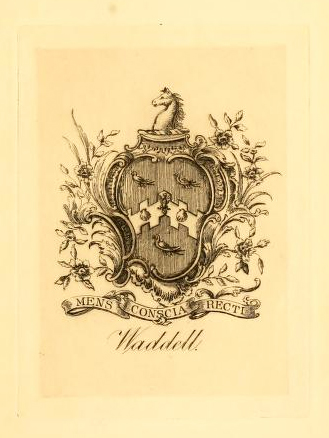 "Waddell Family Crest, from Alfred Moore Waddell's <i>A Colonial Officer and His Times, 1754-1773,</i>"" a history of General Hugh Waddell, grandfather of Hugh Waddell, published 1890. Alfred Moore Waddell was the son of Hugh Waddell, 1799-1878. Presented on Archive.org."