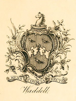 The coat of arms of the Waddell family. Image from Archive.org.