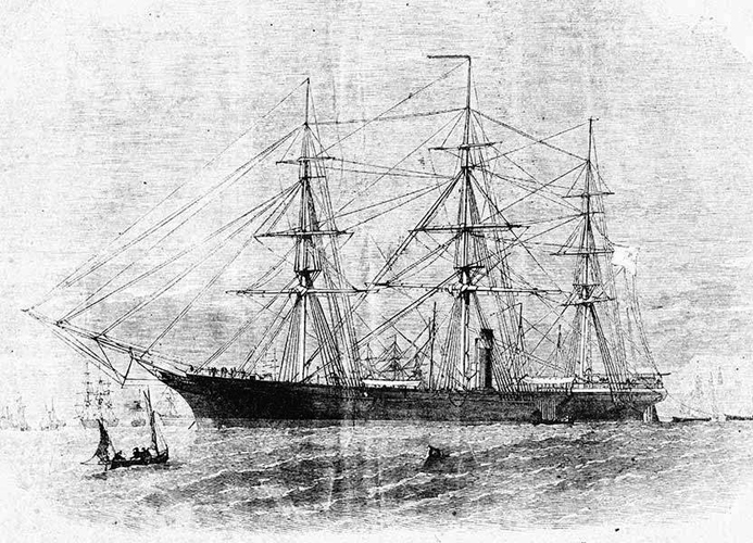 Photograph of a drawing of the Confederate Clipper <i>Shenandoah</i>, circa 1865. From the collections of the North Carolina Museum of History.