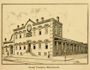 Image of the Globe tobacco warehouse, Durham, NC, built by Warren's father, Julius B. Warren.  From the <i>Hand-book of Durham,<i>1895.