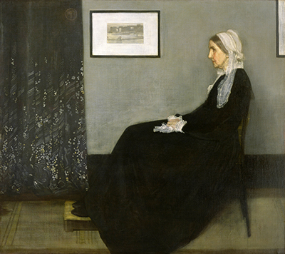 The famous painting by John McNeill Whister, Arrangement in Grey and Black No.1, aka Whistler's Mother. Image from Wikimedia Commons.
