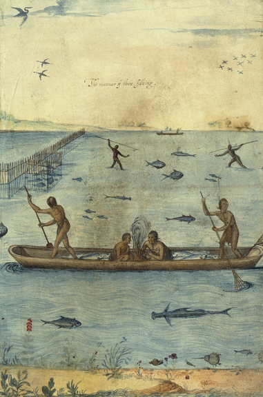 The Manner of Their Fishing by John White. Image from The British Museum, © Trustees of the British Museum