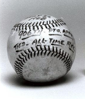 "The baseball Hoyt Wilhelm used July 22, 1968, the date he tied Cy Young's record of 906 pitching appearances. ""Gear, Baseball, Accession #: H.1981.203.16."" 1968. North Carolina Museum of History."