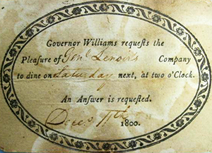 Invitation from Governor Williams to General Lenoir, 1800. Image from the North Carolina Museum of History.
