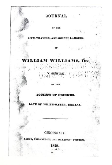 Image of cover page of William William's <i>Journal</i>, published 1828 by Lodge, L'Hommedieu, and Hammond, Cincinnati, OH. Presented on Archive.org.