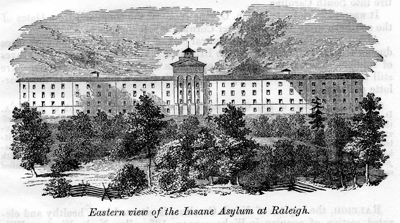 """Eastern View of the Insane Asylum at Raleigh,"" engraved image from Mitchell's <i>History of North Carolina</i>, 1861.  Item S.HS.2006.54.2, from North Carolina State Historic Sites.  Dr. James Williamson was appointed director of the North Carolina Insane Asylum in Raleigh, NC in 1859."