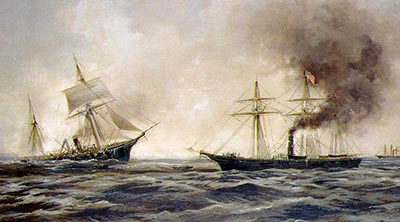 A painting by Xanthus Smith of the battle between the CSS Alabama and the USS Kearsage, showing the Alabama sinking. Image from the U.S. Navy.