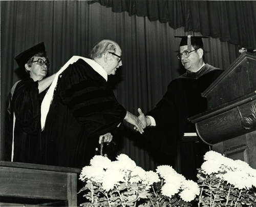 Photograph of Marion Wright receiving an honorary degree at Winthrop University Commencement in 1980. Photograph by Joel Nichols.  Image used courtesy of the Louise Pettus Archives at Winthrop University, Rock Hill, SC.