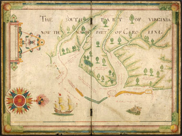 Early colonial map of Virginia and North Carolina, titled <i>The South part of Viginia, now the north party of Carolina,</i> by Nicholas Comberford, created 1657.  From the Stephen A. Schwarzman Building, Manuscripts and Archives Division, New York Public Library Digital Gallery.