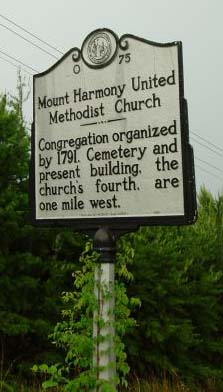 Asbury helped establish Mount Harmony United Methodist Church in 1791. N.C. Highway Historical Marker O-75.