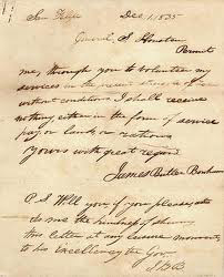 Letter from Autry to his wife, dated February 11, 1834 is on display at the Alamo. Image courtesy of Sampson County.