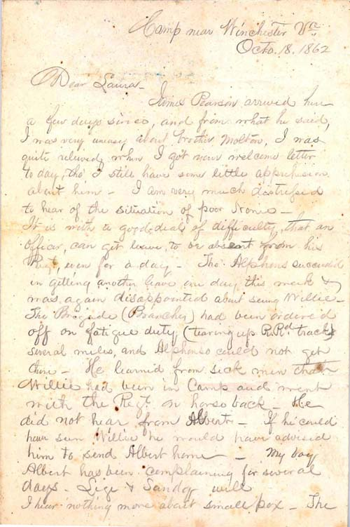 (click to see larger and for more information) Letter, 18 October 1862, from Colonel Isaac E. Avery, 6th Regiment N.C. State Troops, to his sister, Laura, Morganton, Burke County, N.C. Avery Family of North Carolina Papers #33, Southern Historical Collection, UNC Libraries.