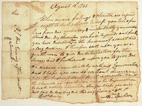 Duel challenge written by Andrew Jackson and addressed to Col. Waightstill Avery on August 12, 1788. Available from the NC Museum of History.