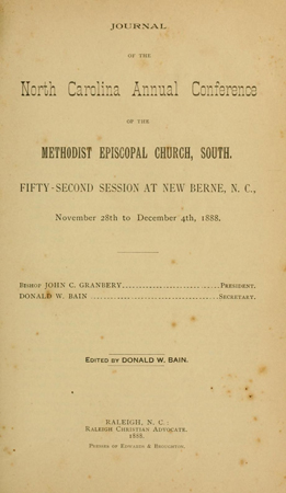 Methodist Episcopal Church, South. North Carolina Conference Jounal, edited by Bain.