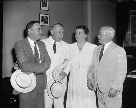 Barden is second from the left.   Principals in wage-hour amendments controversy. Washington, D.C., July 25, 1939. Image courtesy of Library of Congress.