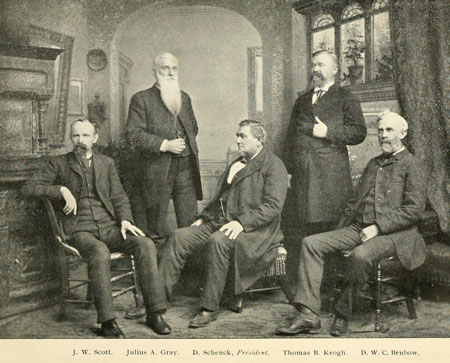 D.W.C. Benbow on far right. Courtesy of A memorial volume of the Guilford Battle Ground Company.