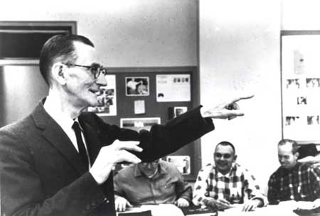 Bird teaching a class in 1960, featured in Life magazine. Image courtesy of Western Carolina University.